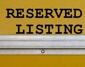 reserved listing for J. Sancken