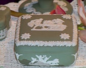 Treasured Antique WEDGWOOD JASPERWARE Square Box in Cream and Celadon Green Made in 1955