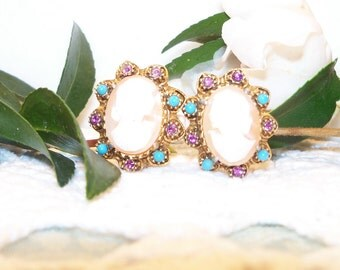 Romantic Antique Cameo, Amethyst and Turquoise Clip Earrings