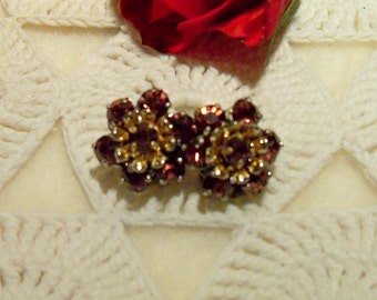 Sparkling Antique BARCLAY signed Amethyst Gold tone Clip Earrings