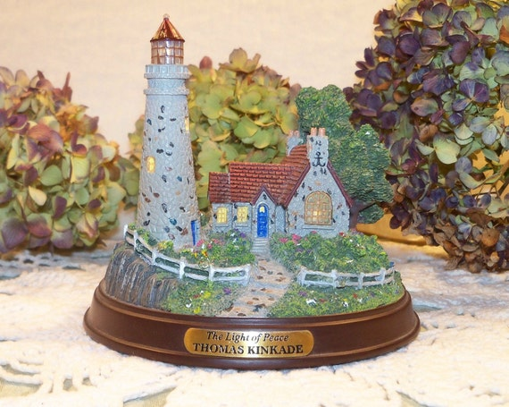 Vintage Retired THOMAS KINKADE The Light of Peace Lighthouse In the Original box
