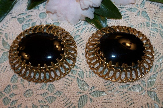 Large Antique Black and Gold Shoe Clips