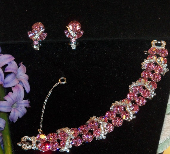 RESERVED - Stunning Weiss Bright Pink and Clear Rhinestone Signed Bracelet and Clip Earrings Set