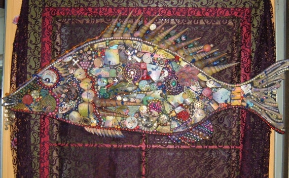 Large Fish Assemblage, Collage, Jewelry and Shells 31x14 Inches