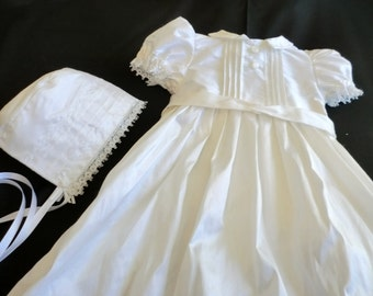 Gianna Silk Taffeta Heirloom Christening, Baptism, Blessing, Dedication Gown with Bonnet, Custom