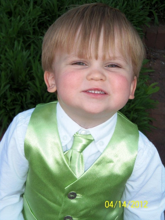 Ring Bearer Outfit --  Vest and Tie, Little Boy Sizes S-L - Custom