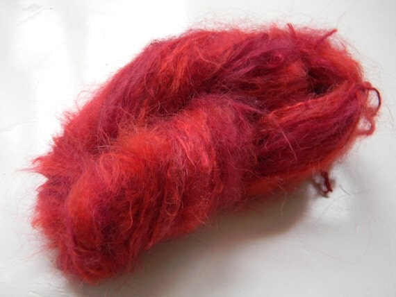 Recycled Yarn Sinful Scarlett Red Mohair  -  Lace Weight  - 55 yards -- One-Skein Wonder