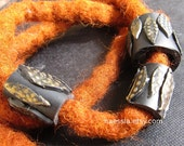 Dreadlock bead - black and gold fern - large hole dread accessories 6 mm