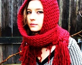 Red Riding Hood Knitted Soft Thick and Warm Pixie Hooded Scarf (Made to order, Allow 5 to 10 Business Days)