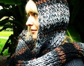 Ashes Soft Thick and Warm Knitted Pixie Hooded Scarf (Made to Order)