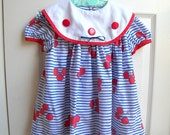 vintage toddler dress 4T stripes and balloons