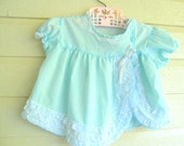 vintage baby dress blue lace