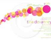 Bubbles Collection (Orange,Yellow and Pink Color Palette) - 5x7 Invitation - P.I.Y. (Print-It-Yourself)