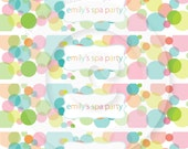 P.I.Y. (print-it-yourself) 5x7 SPA PARTY Water Bottle Wraps - Bubbles Collection