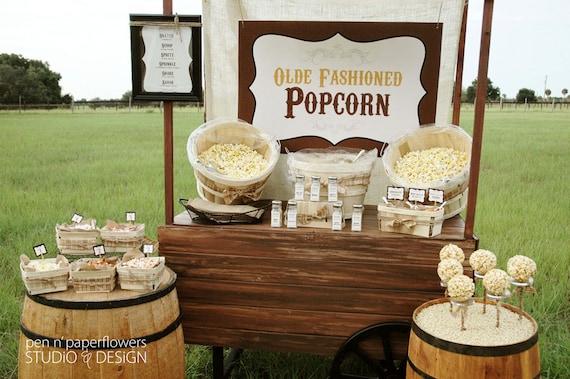 Rustic Popcorn Bar Collection - Printables Bundle - P.I.Y. (print-it-yourself)