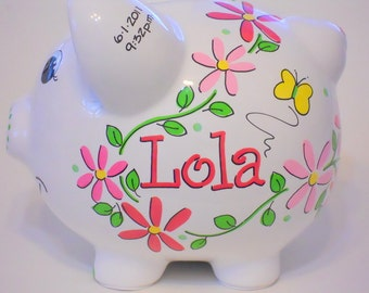 Girl's Piggy Bank Personalized with Pink Daisy Flowers