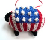 Sheep, Knitted Holiday Ornament  Americana Lamb