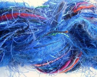 Blue Knitting  Yarn Fusion Art Yarn Crochet Yarn Wool Yarn Hand Tied Yarn Fiber Art Blended Yarns Mohair Yarn 200 Yard Hank