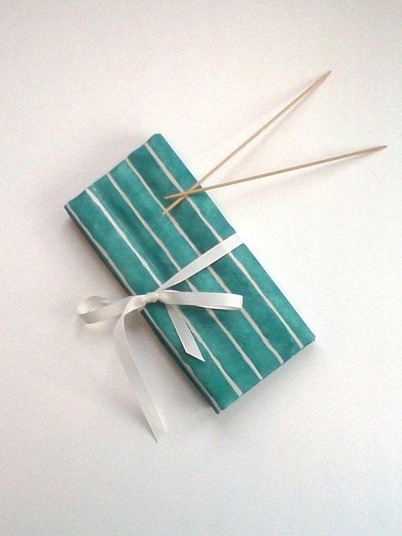 DPN Case Teal Stripe Double Point Knit Needle Organizer