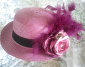 Women's violet hat with feathers and flowers -Church hat -Derby hat -Ladies Tea - Mardi Gras Hat -