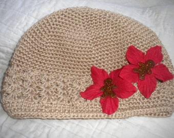 Gingerbread beanie - Christmas crochet hat -  chemo beanie girls - poinsetta crochet hat