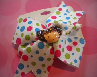 Colorful polka dot hair bow with girl - girls barrette -Kai Lan or Dora inspired