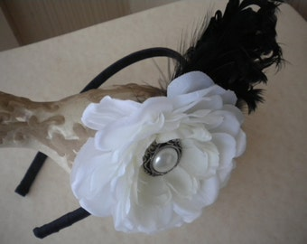 Elegant vintage inspired headband with flower and feathers -black and white headband for girls and women