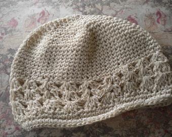 Crochet beanie hat in neutral beige for girls-crochet kufi hat -photo prop hat -hippie style -Easter