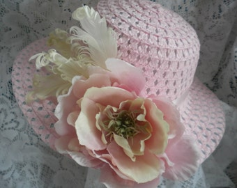 Girls derby hat with flower and feather trim -Treasury list 6x's- Available in pink or white-Church hat for girls