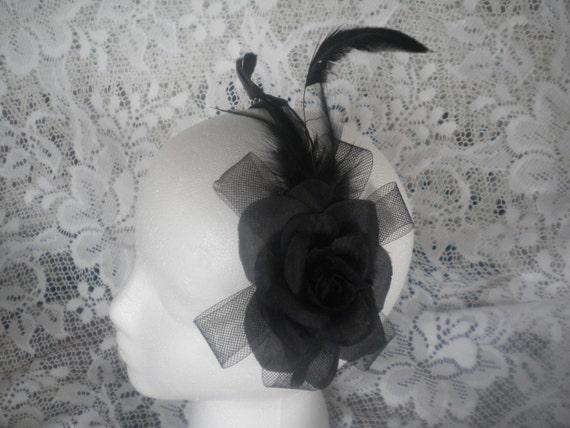 Ladies black fascinator headband -black rose-feathers-crinoline headband -derby headband -gothic