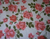 Gorgeous vintage linen hand tea stained pink roses square tablecloth - Country cottage, shabby chic