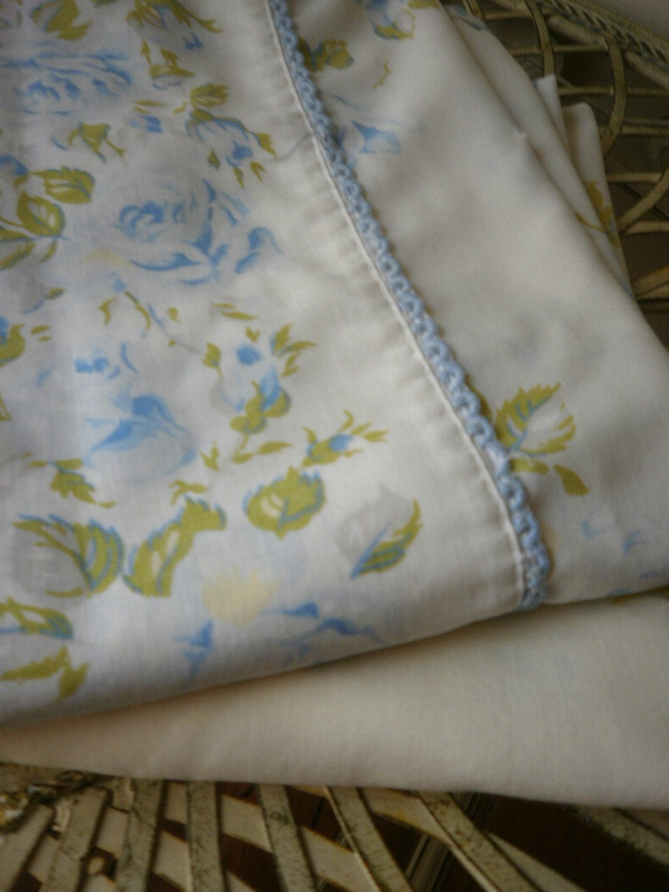 Shabby Chic Blue Pillows : 1 pair of shabby chic roses pillow cases blue and white