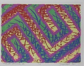 MEANDER SCRIBBLE III Linoleum-cut Block Print Hand cut and printed on rice paper 8X10