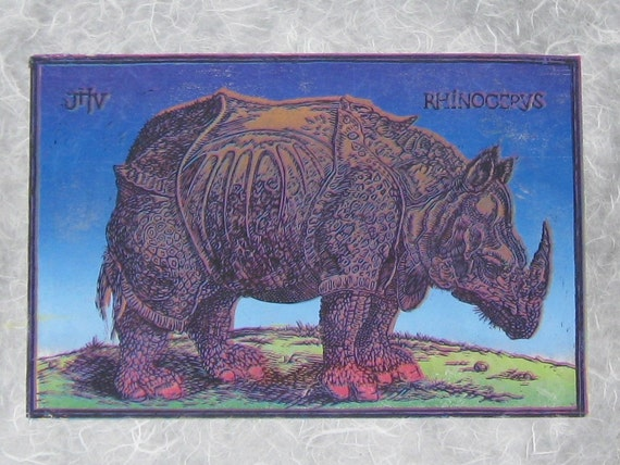 Durer S Rhino Linoleum Cut And Collagraph By Galeriedeviskil