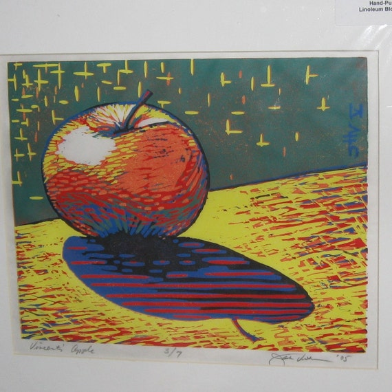 VINCENT'S  APPLE Linoleum-cut Block Print all hand carved and printed on Japanese rice paper 8X10