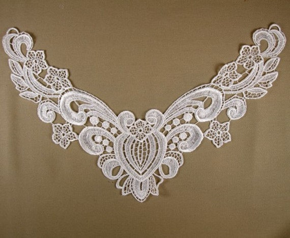 WHITE Lace Applique Vintage Venise Yoke