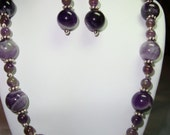 SALE  Cape Amethyst and Sterling Silver Beaded Necklace and Earring Set