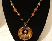 Animal Spider Web Faceted Agate w Focal Donut w Tassel Wire Wrapped in Gold