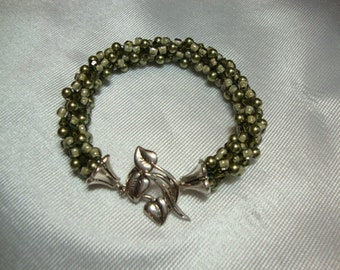 The Vine Olive and Green Swarovski Crystals and Pearls Kumihimo Bracelet