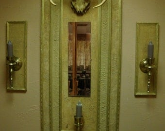 The Buck Stopped Here - Antler Wall Art with Bezelled Mirror wMatching Brass Sconces Home Decor
