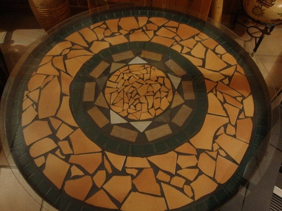 Mosaic Tile Rustic Round Table With Wrought Iron Base And