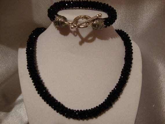 Black Velvet Crystal Kumihimo Style Braid Necklace and Bracelet Set