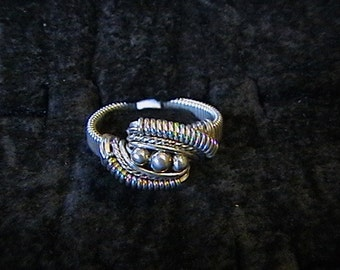 Sterling Silver wire wrap ring with sterling silver beads- ANY SIZE