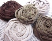 5 Fabric Rosettes - appliques - browns