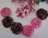 6 Fabric Rosettes - appliques -  MINIs - Pink And Brown