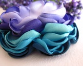 1 Flower Applique - peony - PEACOCK - turquoise, teal, purple and lavender
