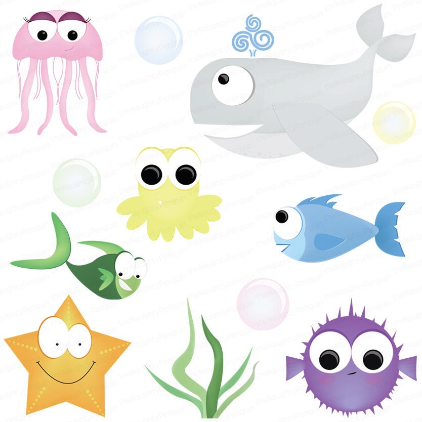Ocean animals and fish clip art package digital scrapbook
