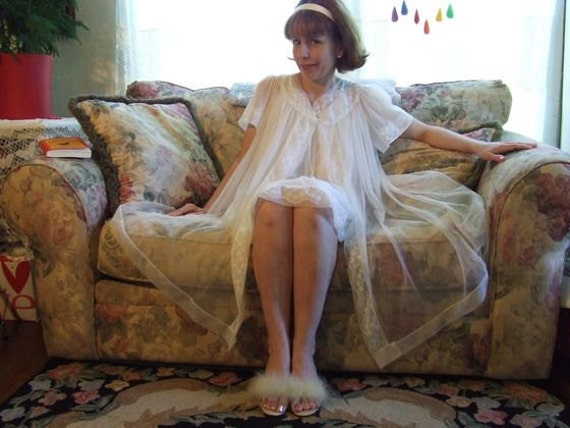 Cute Vintage Lace Illusion Nylon Nightgown and Peignoir Set by Miss Elaine