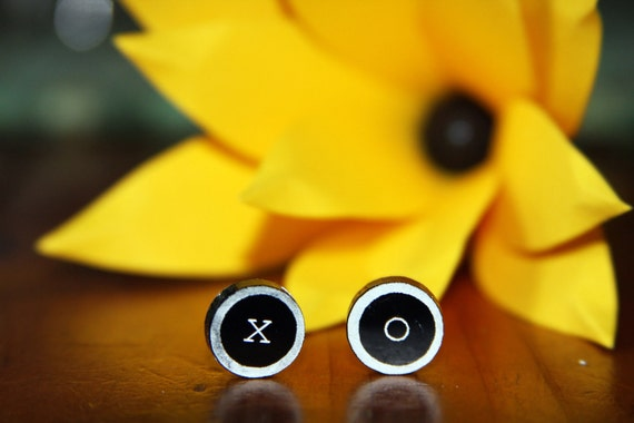 Typewriter Key Post Earrings
