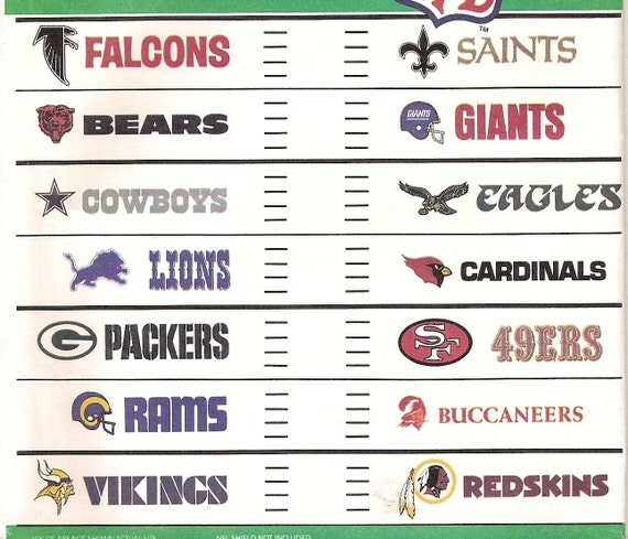 McCalls 3422 NFL Football Transfer Patterns - all 14 NFC Teams and Official Color Chart
